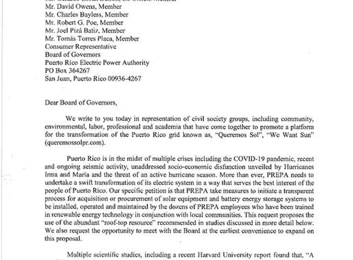 Carta a la Junta de Gobierno de AEE