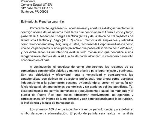 Eliezer Molina le responde a la UTIER sobre el contrato de Luma