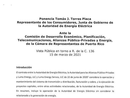 Ponencia de Tomás J. Torres Placa, representante de los consumidores, Junta de Gobierno de la AEE