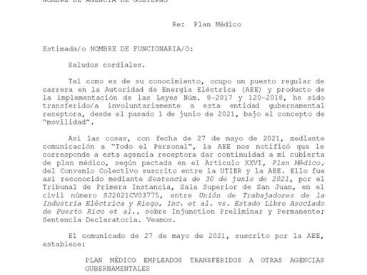Carta para solicitar plan médico Familia Energética (Ley 120)