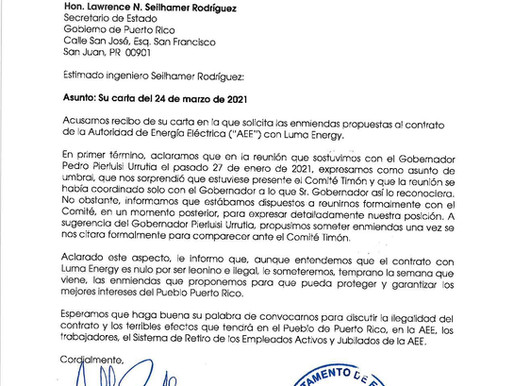 Carta al Secretario de Estado