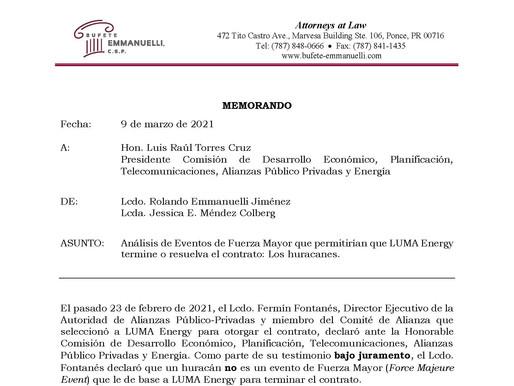 Analisis de Eventos de Fuerza Mayor que permitirían que LUMA Energy termine o resuelva el contrato