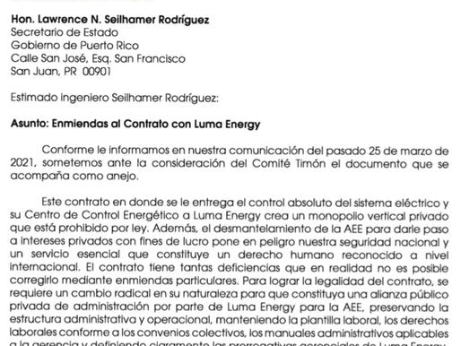 Carta de la Alianza de Empleados Activos y Jubilados de la AEE para el Ingeniero Lawrence N. Seilham