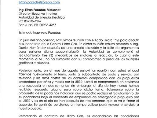 Carta al Director Ejecutivo Ingeniero Efran Paredes-Maisonet