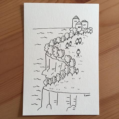 アナログのペンを使った線画シリーズのオリジナル作品
