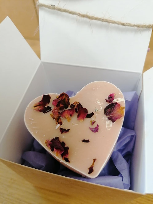 Geramium & Patchouli Heart Soap - gift boxed