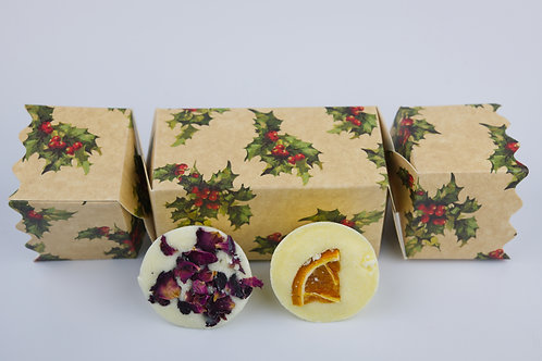 Bath Melts Christmas Cracker Holly Gift Box