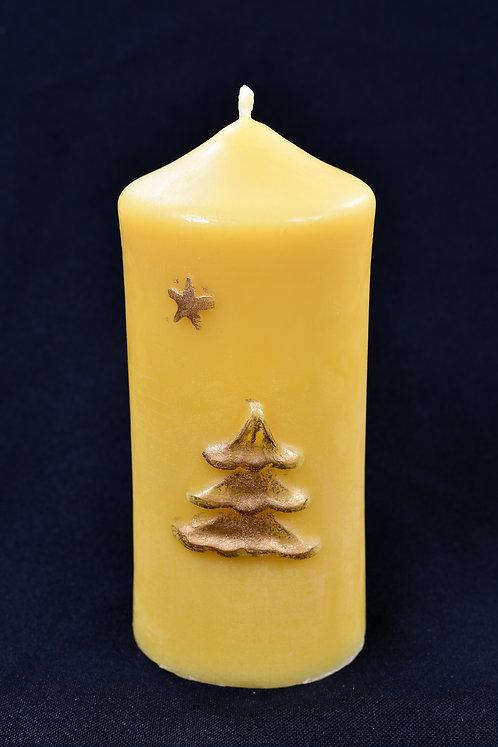 Christmas tree on pillar Beeswax Candle
