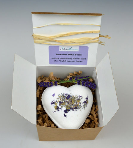 Lavender Giant Heart Bath Bomb Gift Boxed