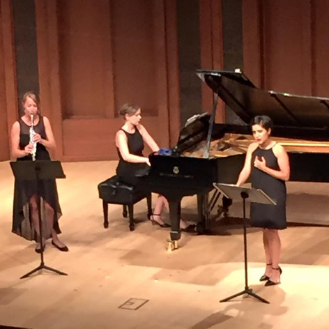 Performing Ned Rorem's Ariel Song Cycle, with Alexandra Smither, soprano and Rebecca Tobin, clarinet, at Music Academy of the West 2016