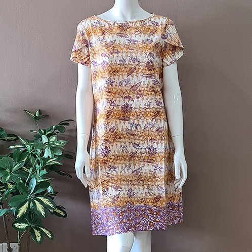 Boat Neck Batik Dress - Size M