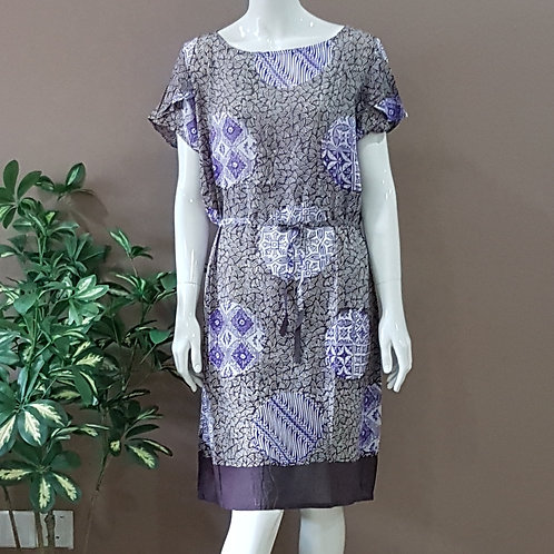 Boat Neck Batik Dress - Size L