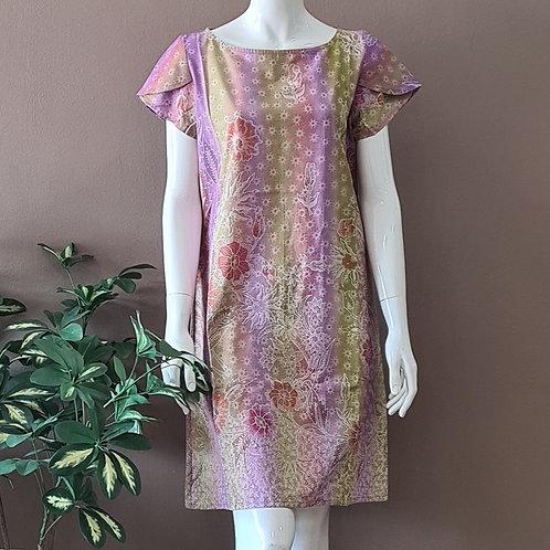 Boat Neck Batik Dress - Size S