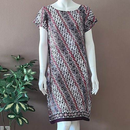 Boat Neck Batik Dress - Size S