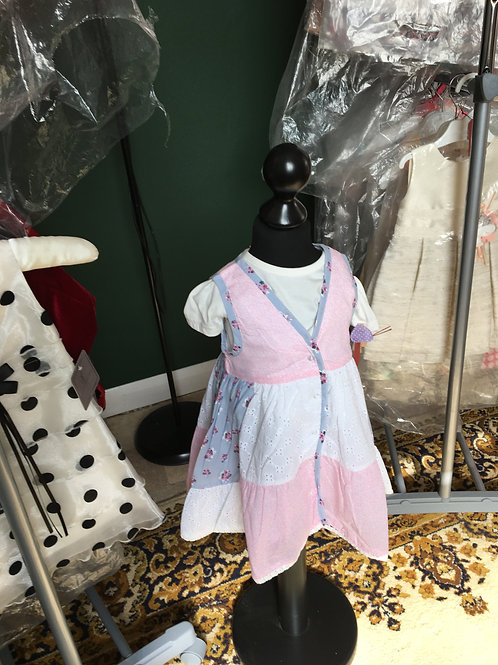Patchwork Pinafore and T-Shirt