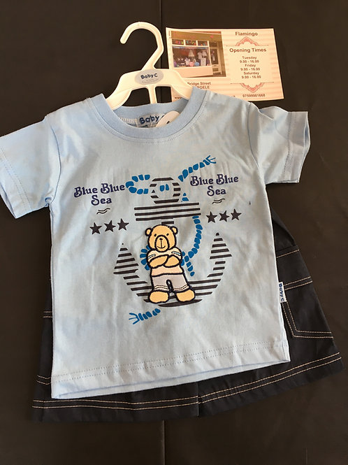 Appliqued Teddy Shorts Set Blue