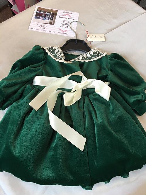 Green Velvet Dress and Hat