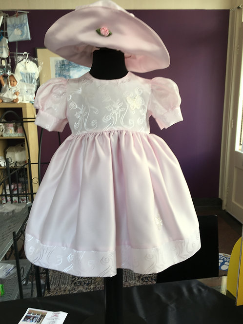 Delicate Pink Butterfly Dress and Hat