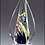 Thumbnail: Flame-Shaped Art Glass Award on Clear Glass Base - Engraved - Blown Glass