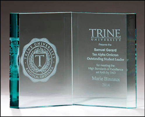 Glass open book recognition award - Laser engraved - Clear or jade tinted  glass