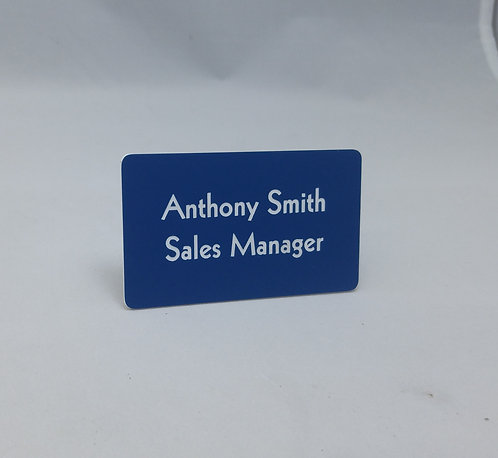 "1-3/4"""" x 3"" laser engraved name badge name tag - magnetic - 58+ color options"