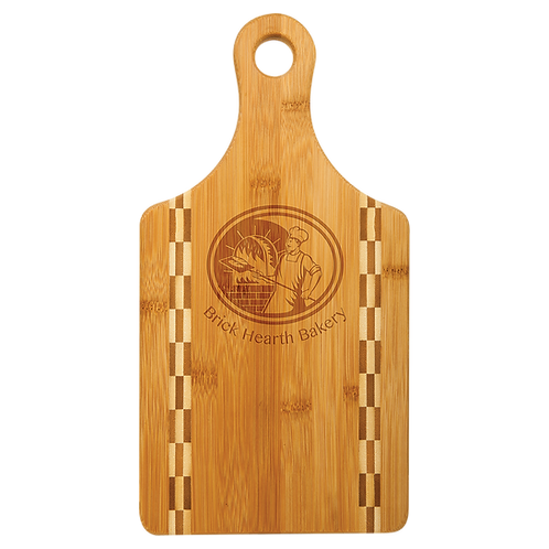 "13 1/2"" x 7"" Paddle Shaped Bamboo Cutting Board with Butcher Block Inlay"