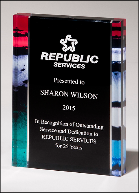 Premium Series acrylic with printed stained glass or blue border - Award