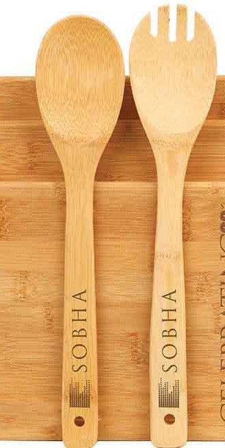 Bamboo 6-Piece Wooden Utensils - Spatula - Sald Spoon - Salad Spork - 2 Each