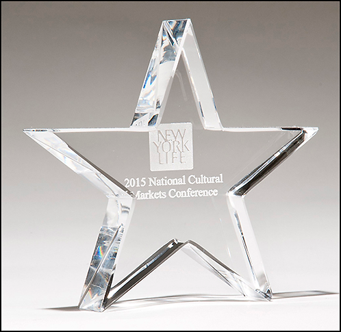 Crystal star paperweight - Recognition Award