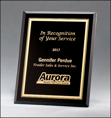 Black Glass Plaque with Gold Engraving & Border - 3 sizes - Laser engraved