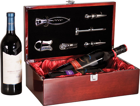 Rosewood Piano Finish Double Wine Box with Tools - Laser Engraved - Color Fill