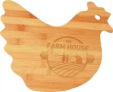 Bamboo Chicken / Hen Shaped Cutting Board - Laser Engraved