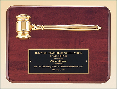 """Rosewood stained piano finish plaque with a gold plated gavel - 9"""" x 12"""
