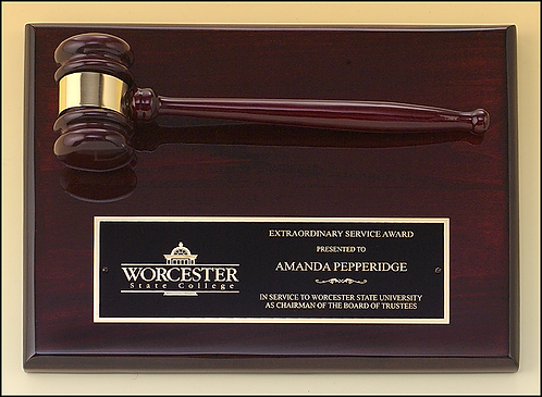 "Rosewood stained piano finish gavel plaque - 9"" x 12"" - black brass plate"