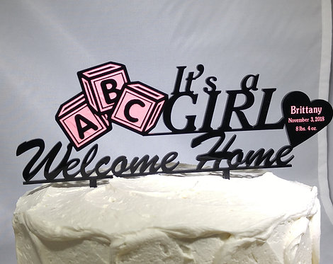 Cake topper - It's a Boy - It's a Girl - Welcome Home Design - Color Fill Blocks