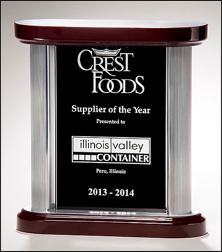 Premium Series black glass award with silver aluminum posts - Laser engraved