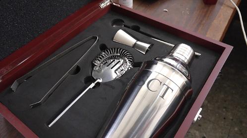Rosewood Finish Martini Making Set - Kit - Laser Engraved - Personalized