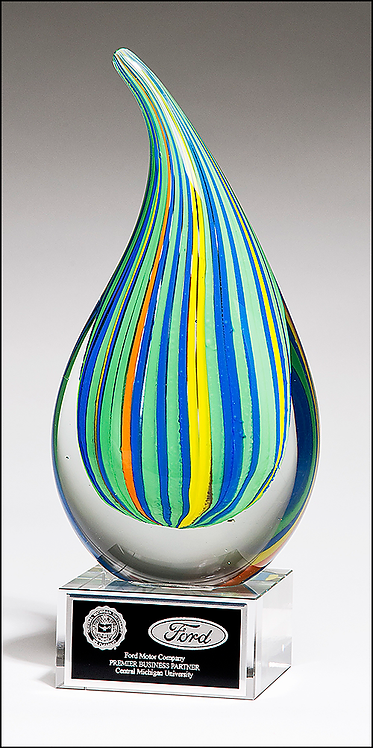 Art Glass Droplet-Shaped Multi-Color Award - Blown Glass - Clear base
