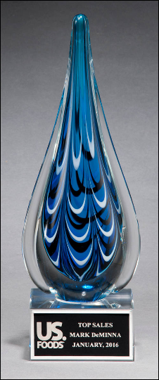 Blue and black teardrop shaped art glass award - Laser engraved base or plate