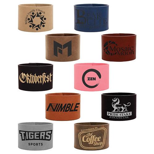 Qty 5 Leatherette Cuff Bracelets - Snaps - Personalized