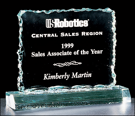 """Crushed Ice Series Acrylic Recognition Award - 3/4"""" thick - Jade - Engraved"""