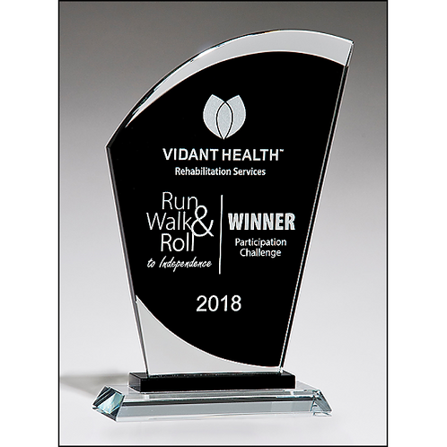 Sail-Shaped Glass Award with Black Center on Glass Base with Black Pedestal