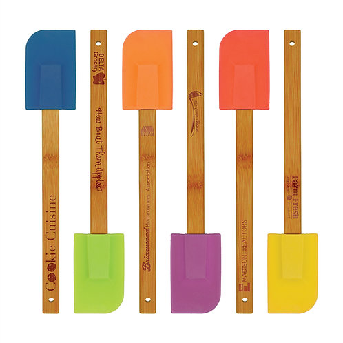 Qty 6 Silicone Baster Brush / Spatula Set with Bamboo Handles - HeatResistant