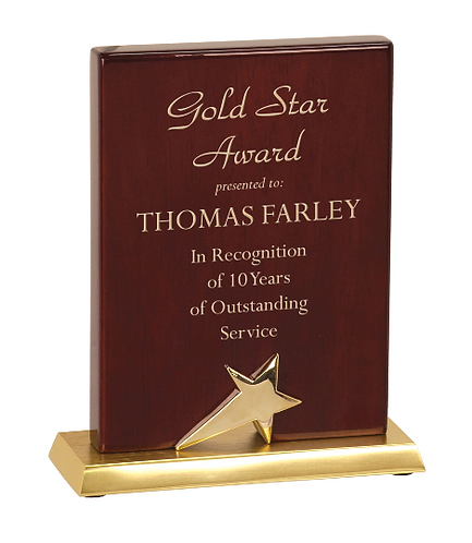 Rosewood Finish Standing Star Plaque with Silver Metal Base - Color Fill