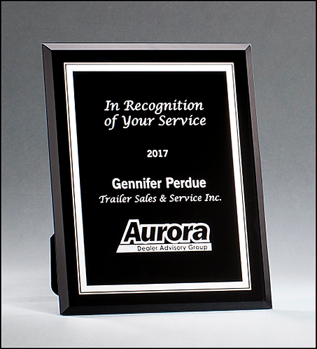 Black Glass Plaque with Silver Engraving & Border - 3 sizes - Laser engraved