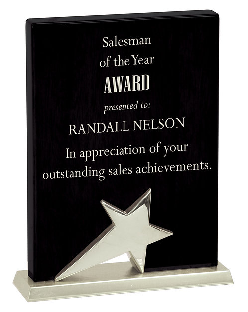 Black Piano Finish Standing Star Plaque with Silver Metal Base - Color Fill