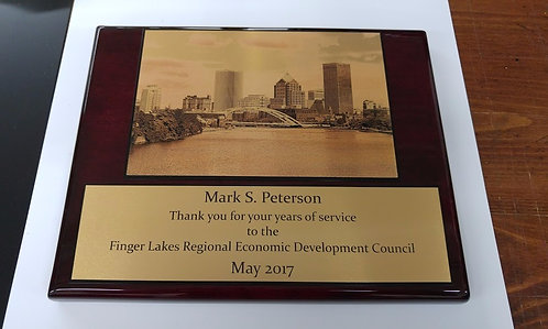 Custom rosewood piano finish plaque - Gold coated aluminum plate