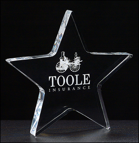 "Star Paperweight - 3/4"" thick clear acrylic - Laser Engraved - Award"
