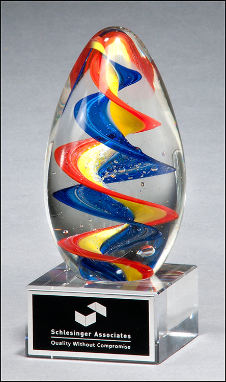 Colorful egg-shaped art glass award with clear base - Blown Glass