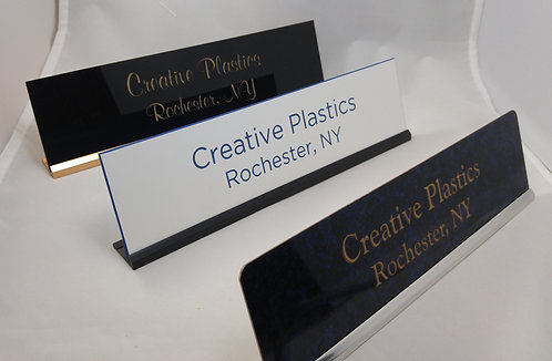 "2-1/2"" x 10"" laser engraved name plate with desk holder - 58 color options"